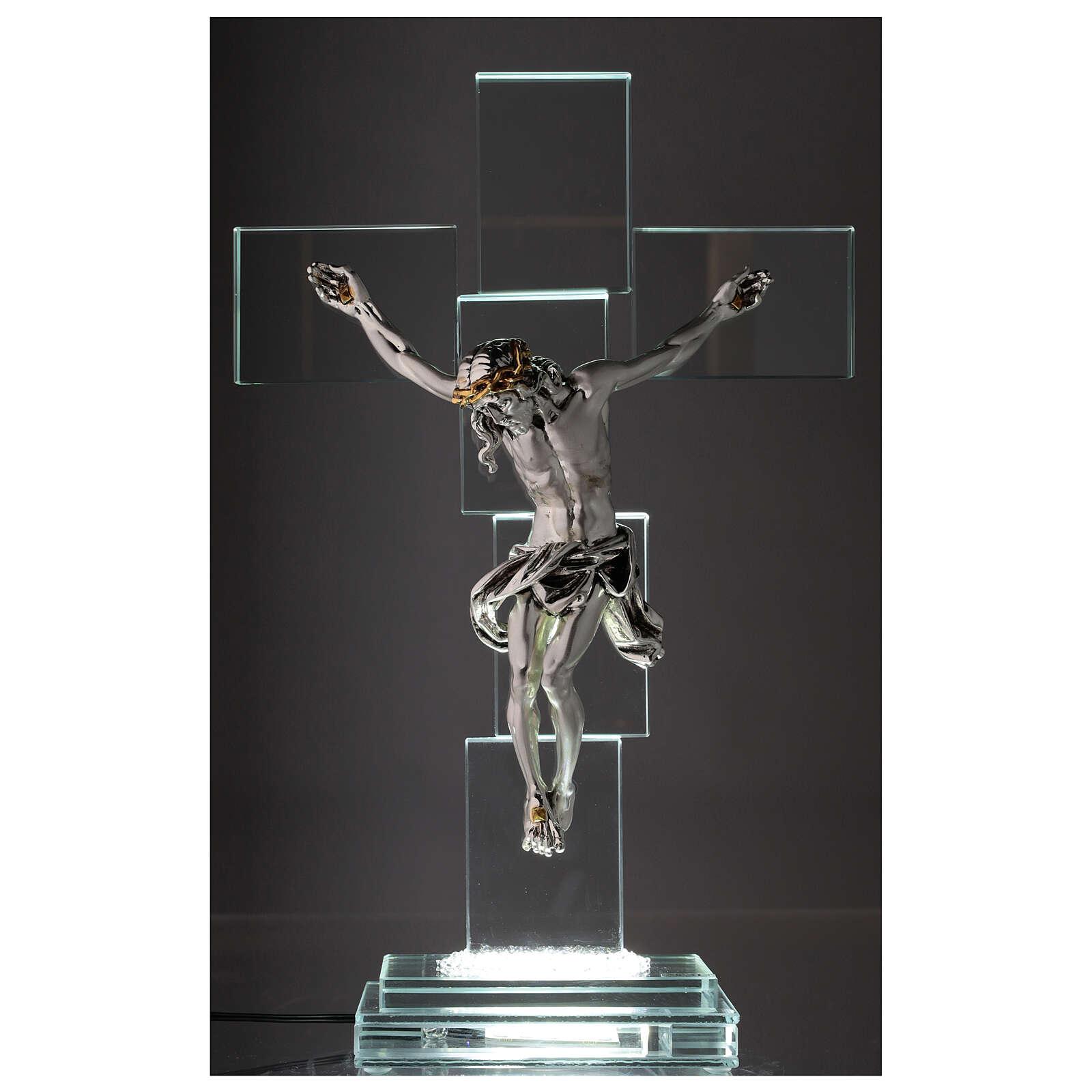Crucifix cristal corps métal et lampe 4