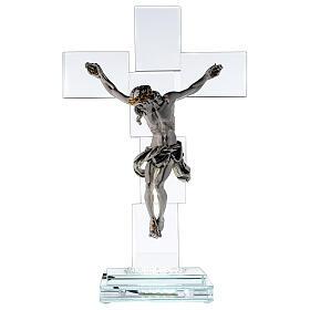 Crucifix cristal corps métal et lampe s1