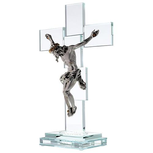 Crucifix cristal corps métal et lampe 3
