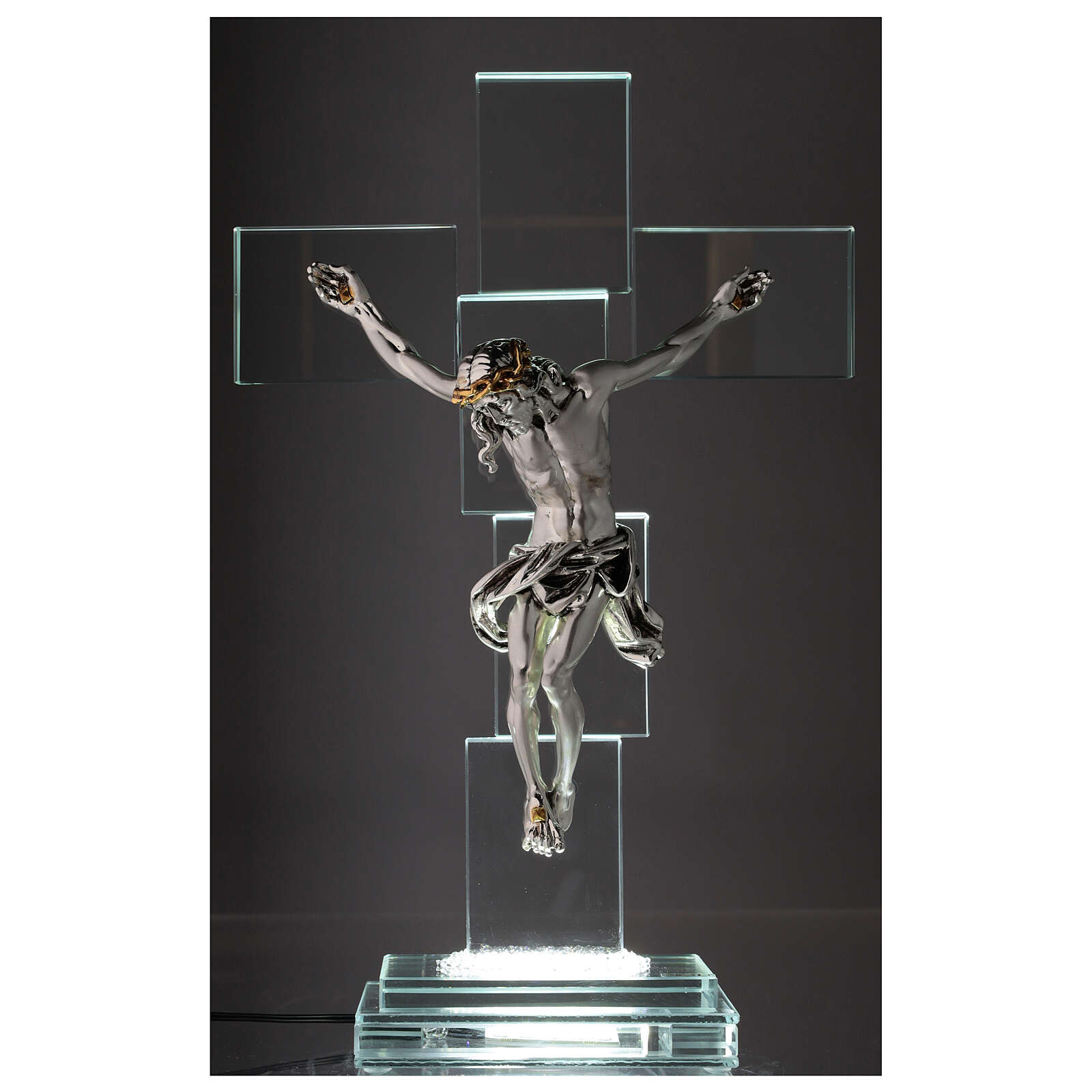 Modern crystal crucifix with metal body of Christ and light 4