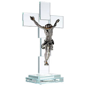 Modern crystal crucifix with metal body of Christ and light s4