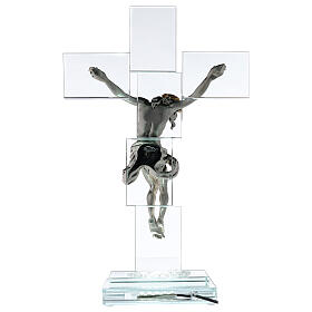 Modern crystal crucifix with metal body of Christ and light s5