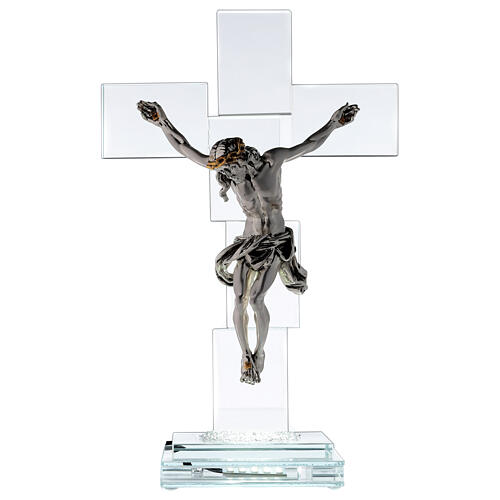 Modern crystal crucifix with metal body of Christ and light 1