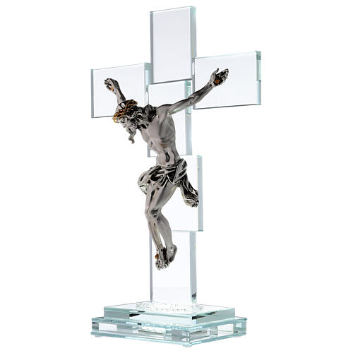 Modern crystal crucifix with metal body of Christ and light 3