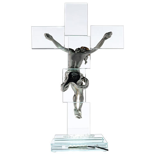 Modern crystal crucifix with metal body of Christ and light 5