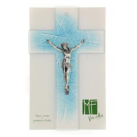 Crocifisso in moderno vetro di Murano sfumature azzurre 20x15 cm s2