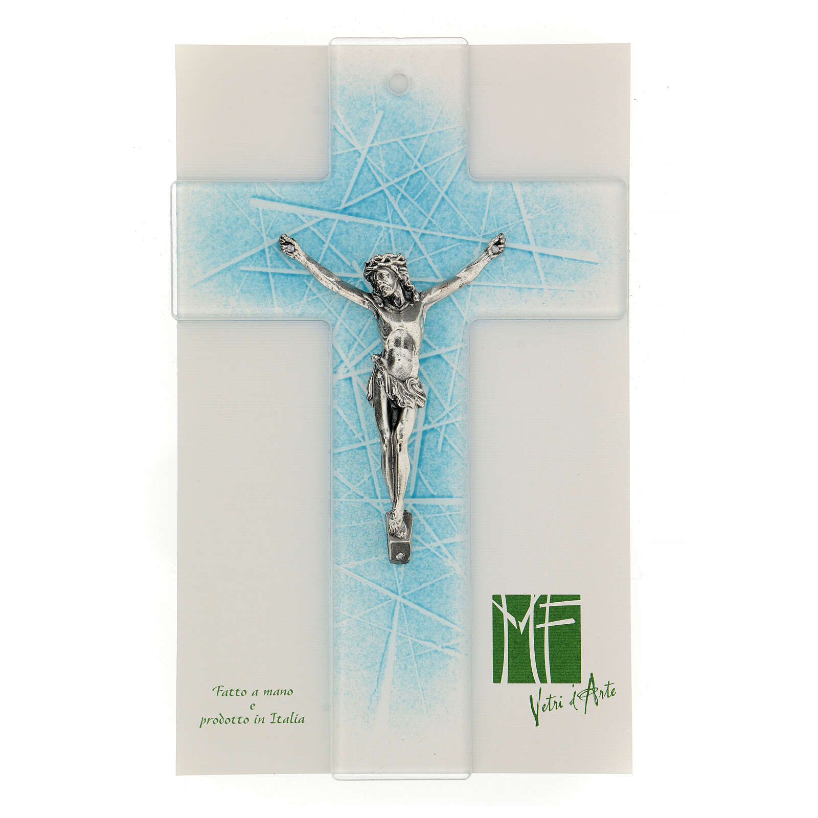 Modern crucifix in Murano glass with light blue shades 8x5 inc 4