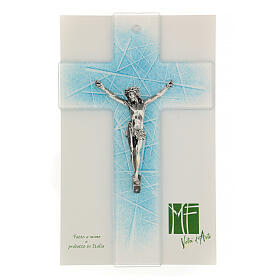 Modern crucifix in Murano glass with light blue shades 8x5 inc s2