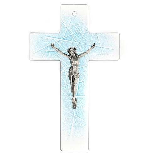 Modern crucifix in Murano glass with light blue shades 8x5 inc 1