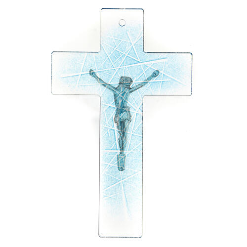 Modern crucifix in Murano glass with light blue shades 8x5 inc 3