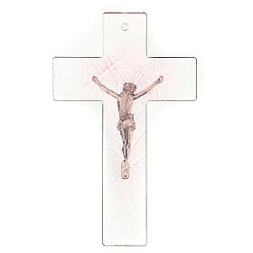 Modern crucifix in glass with pink shades 20x15 cm s3