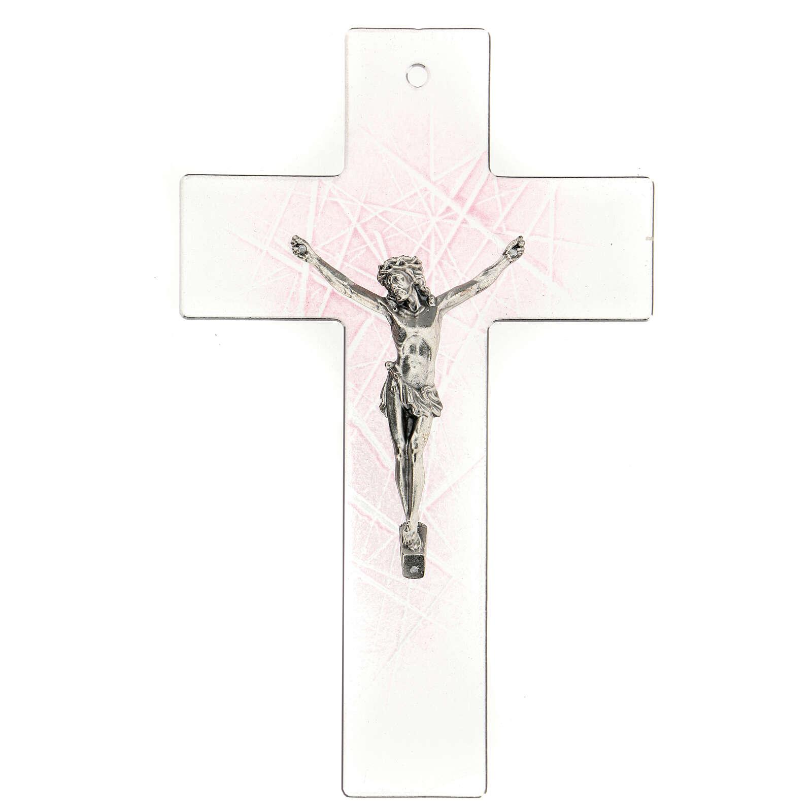 Crucifijo de vidrio de Murano transparente con matices rosas 20x15 cm 4