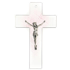 Crucifijo de vidrio de Murano transparente con matices rosas 20x15 cm s1