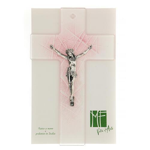 Crucifijo de vidrio de Murano transparente con matices rosas 20x15 cm 2