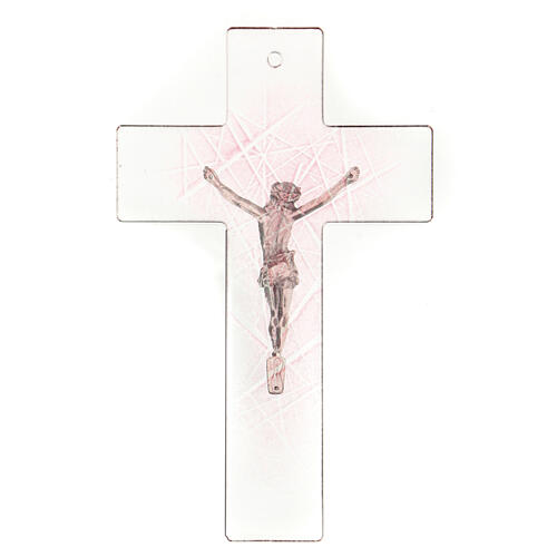 Crucifijo de vidrio de Murano transparente con matices rosas 20x15 cm 3
