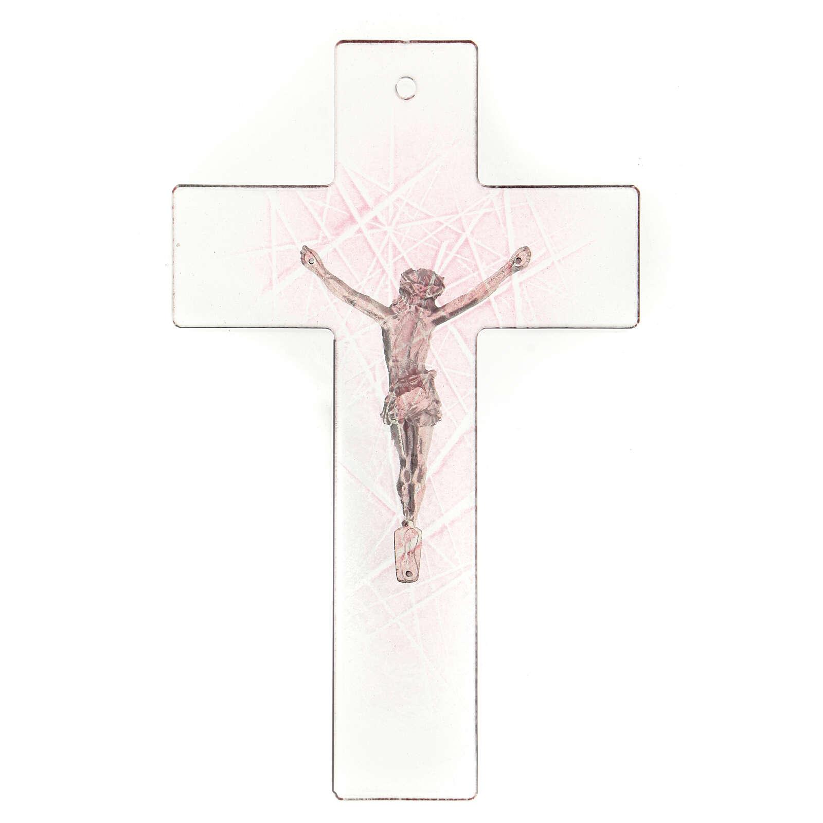 Crocifisso in vetro di Murano trasparente con sfumature rosa 20x15 cm 4