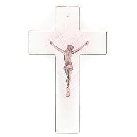 Crocifisso in vetro di Murano trasparente con sfumature rosa 20x15 cm s3