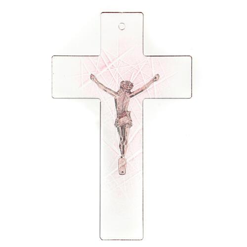 Crocifisso in vetro di Murano trasparente con sfumature rosa 20x15 cm 3