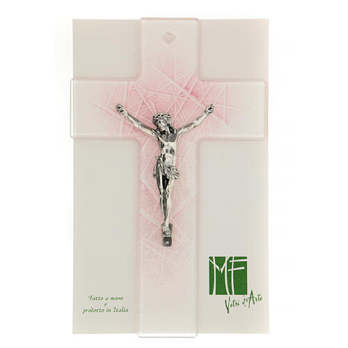 Modern crucifix in Murano glass with pink shades 8x5 inc 2