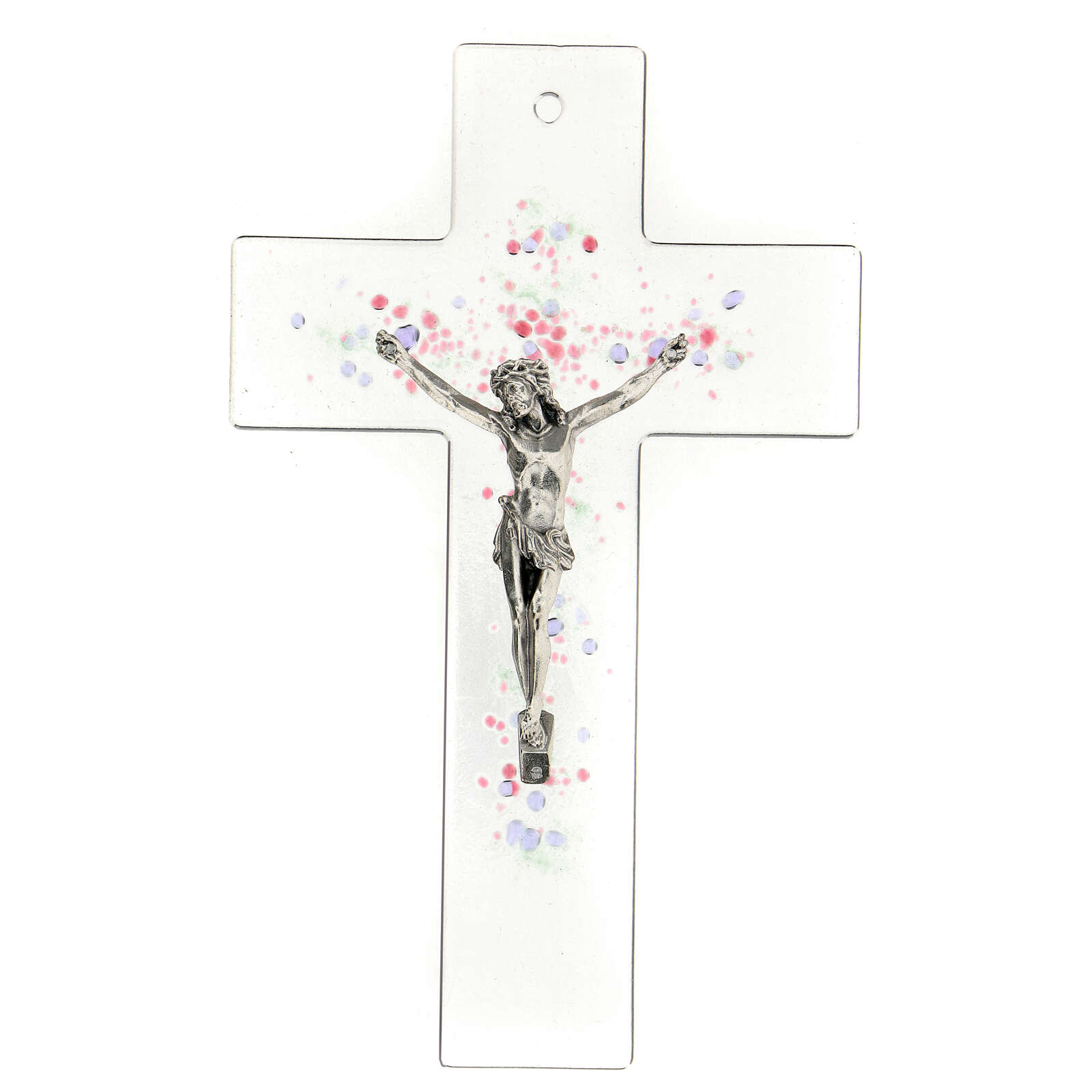 Modern crucifix in glass with coloured relief bubbles 20x15 cm 4