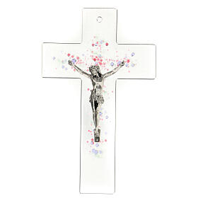 Modern crucifix in glass with coloured relief bubbles 20x15 cm s1