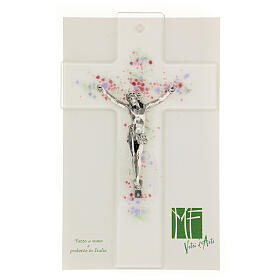 Modern crucifix in glass with coloured relief bubbles 20x15 cm s2