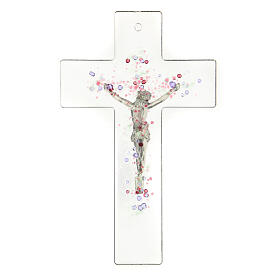 Modern crucifix in glass with coloured relief bubbles 20x15 cm s3