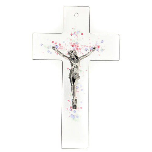 Modern crucifix in glass with coloured relief bubbles 20x15 cm 1