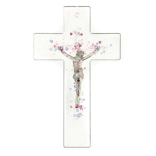 Modern crucifix in glass with coloured relief bubbles 20x15 cm 3