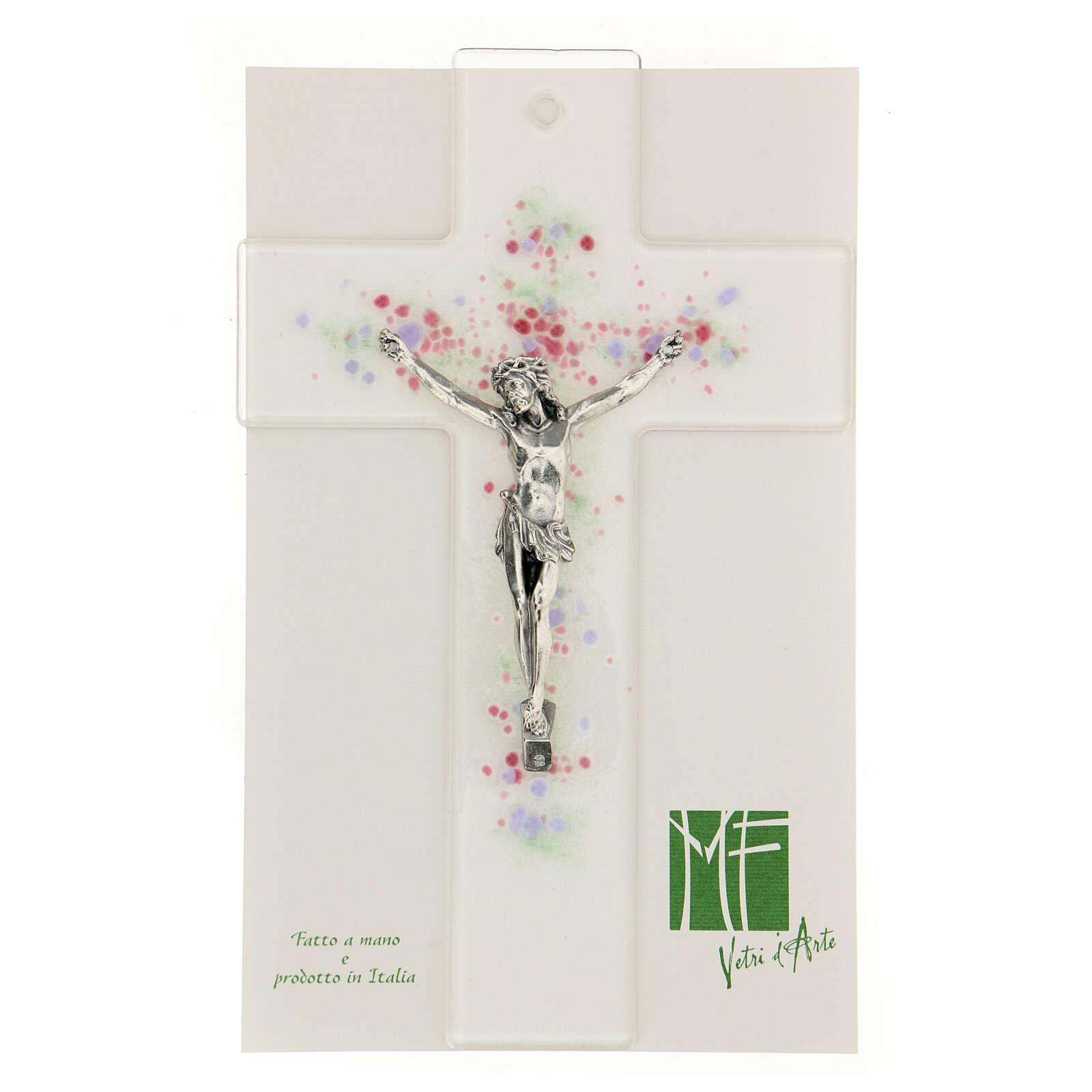 Crucifijo moderno con bolitas de color en relieve 20x15 cm 4