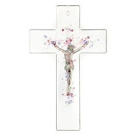 Crucifijo moderno con bolitas de color en relieve 20x15 cm s3