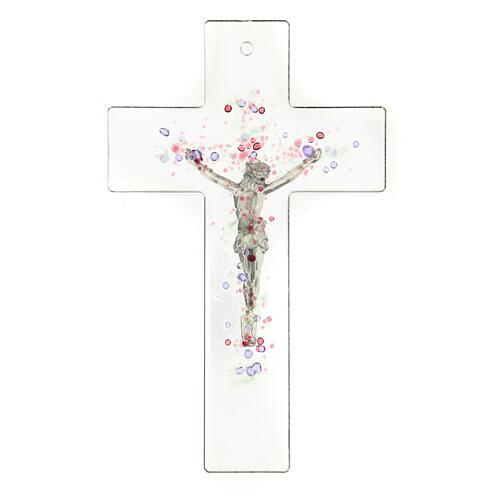 Crucifijo moderno con bolitas de color en relieve 20x15 cm 3
