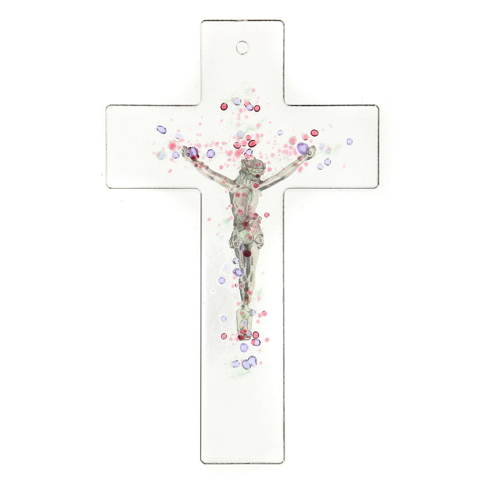 Crocifisso moderno con bolle di colore in rilievo 20x15 cm 4