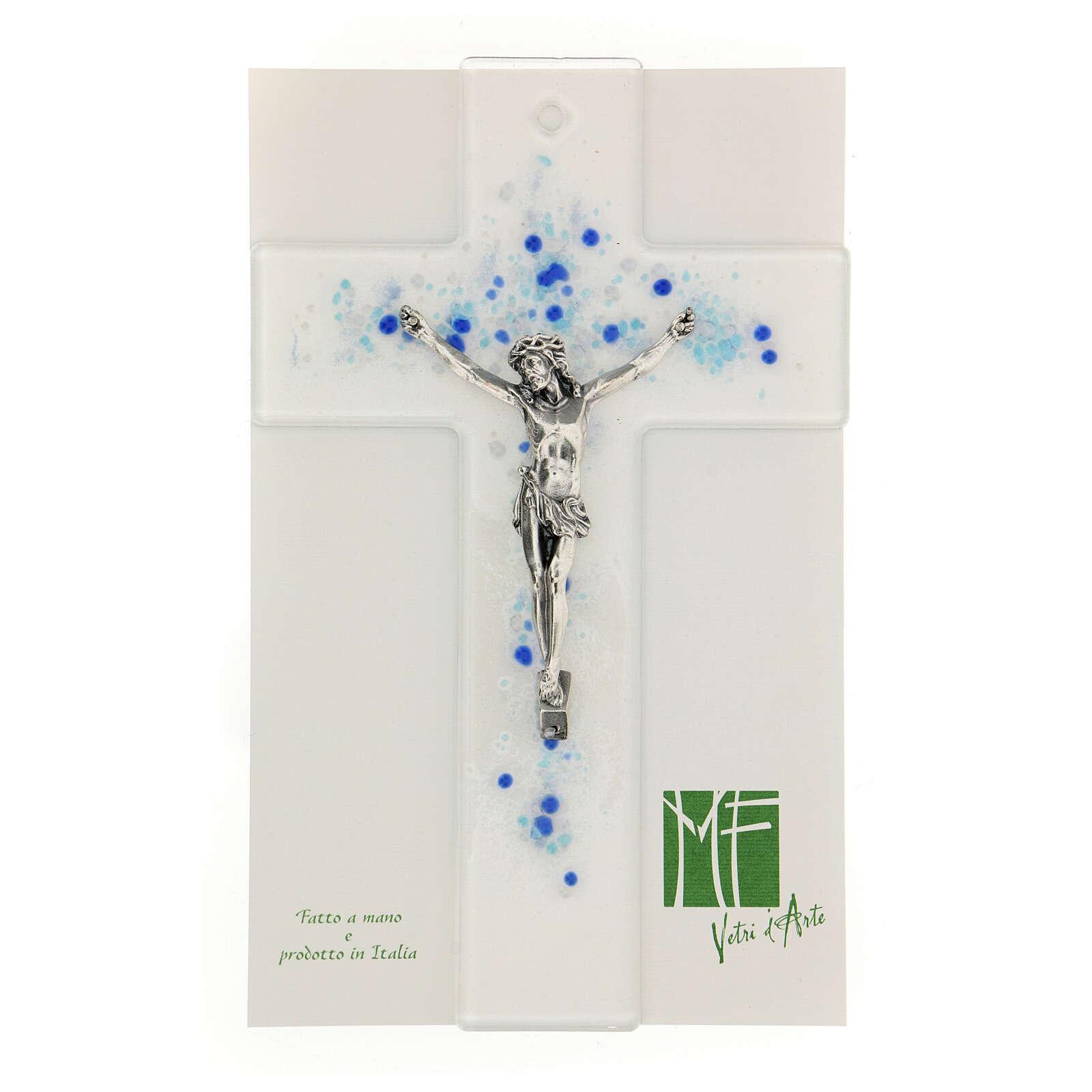 Crucifijo de vidrio con bolitas azules en relieve 20x15 cm 4
