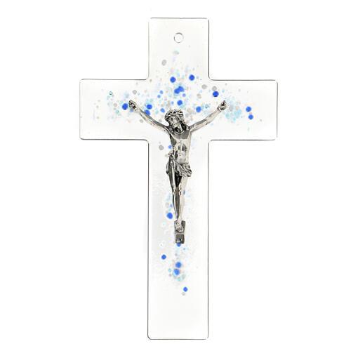 Crucifijo de vidrio con bolitas azules en relieve 20x15 cm 1