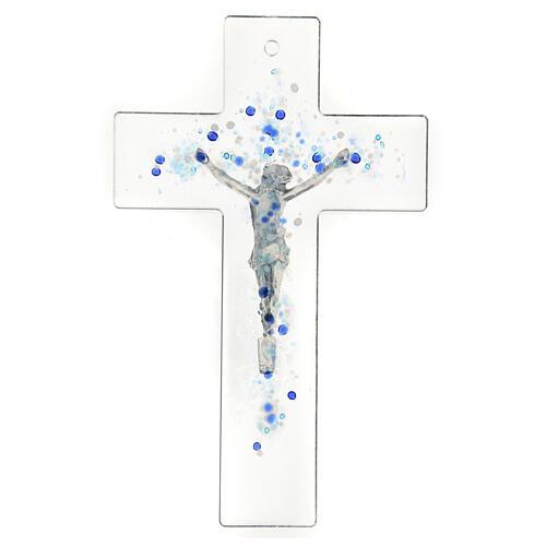 Crucifijo de vidrio con bolitas azules en relieve 20x15 cm 3