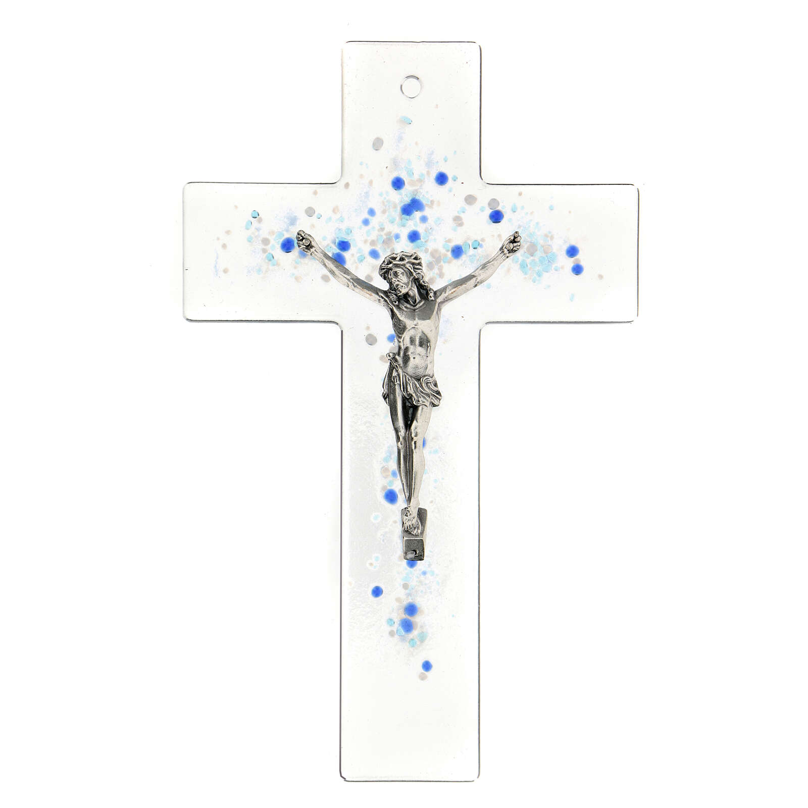 Modern crucifix in Murano glass with blue drops 8x5 inc 4