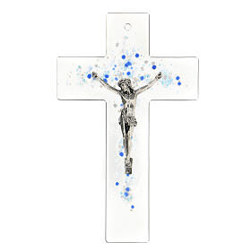Modern crucifix in Murano glass with blue drops 8x5 inc s1