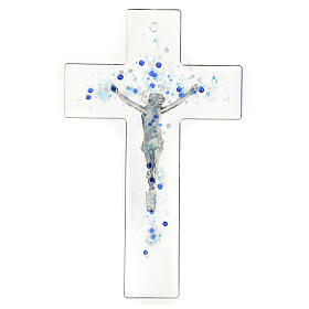Modern crucifix in Murano glass with blue drops 8x5 inc s3