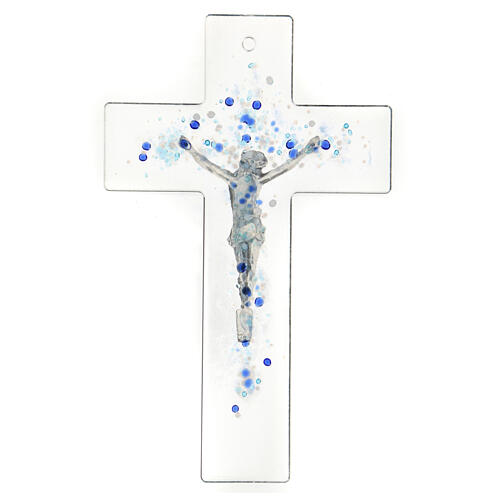 Modern crucifix in Murano glass with blue drops 8x5 inc 3