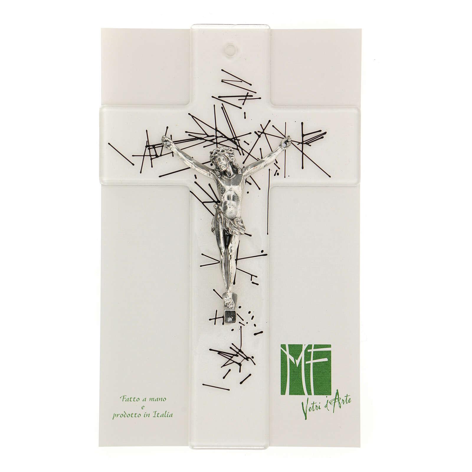 Crucifijo moderno vidrio transparente con decoración rayas negras 20x15 cm 4