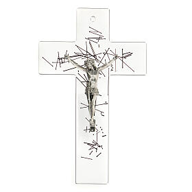 Crucifijo moderno vidrio transparente con decoración rayas negras 20x15 cm s1