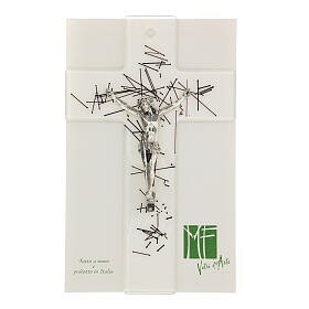 Crucifijo moderno vidrio transparente con decoración rayas negras 20x15 cm s2