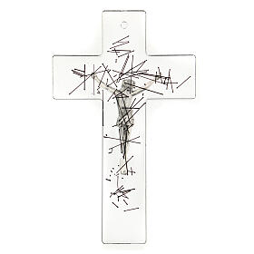 Crucifijo moderno vidrio transparente con decoración rayas negras 20x15 cm s3