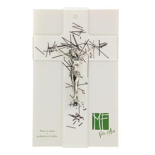 Crucifijo moderno vidrio transparente con decoración rayas negras 20x15 cm 2