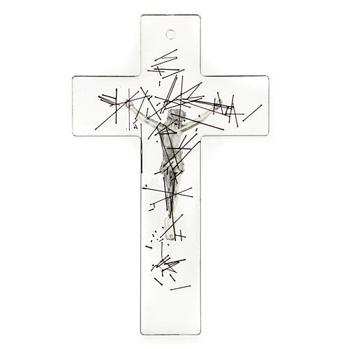 Crucifijo moderno vidrio transparente con decoración rayas negras 20x15 cm 3