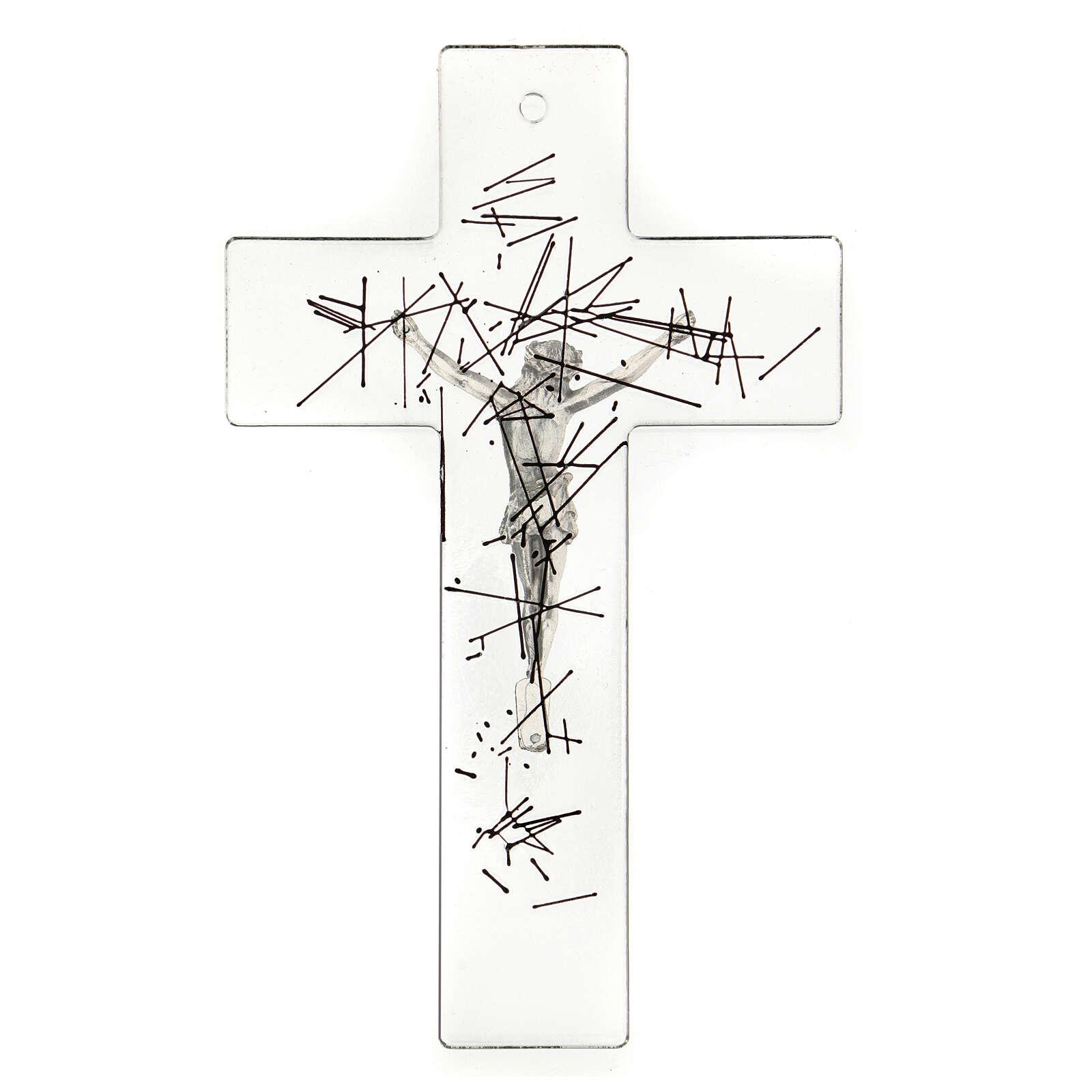 Crocifisso moderno vetro trasparente on decorazione righe nere 20x15 cm 4