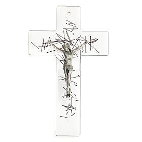 Crocifisso moderno vetro trasparente on decorazione righe nere 20x15 cm s1
