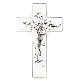 Crocifisso moderno vetro trasparente on decorazione righe nere 20x15 cm s3