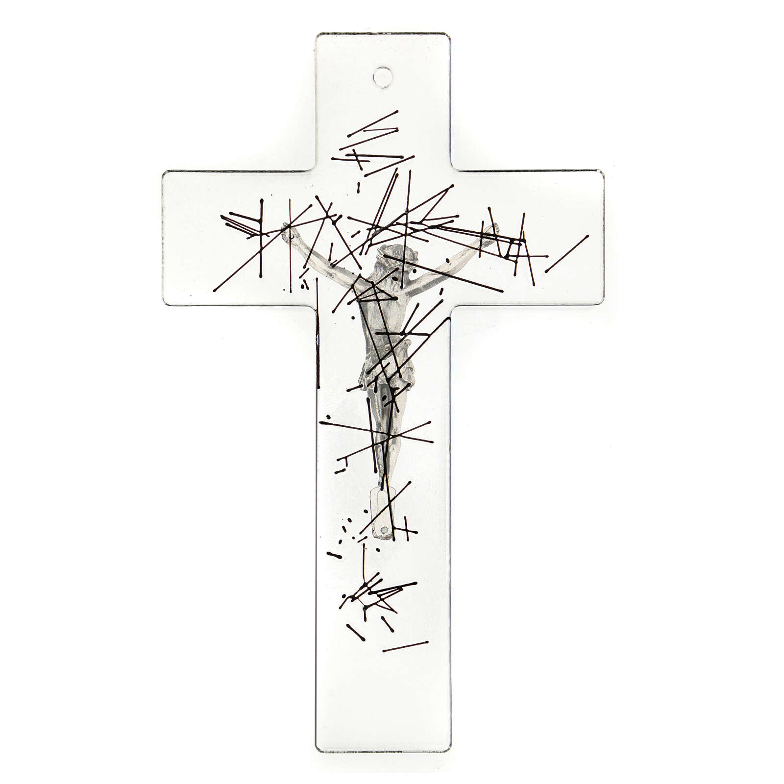 Modern crucifix in Murano glass with black lines 8x5 inc 4